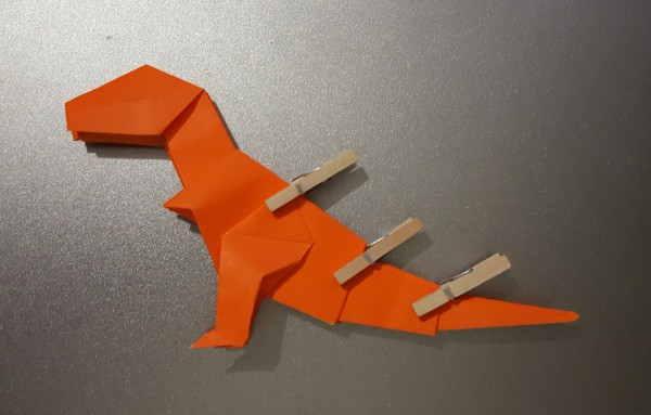 Origami T-Rex with clothespin