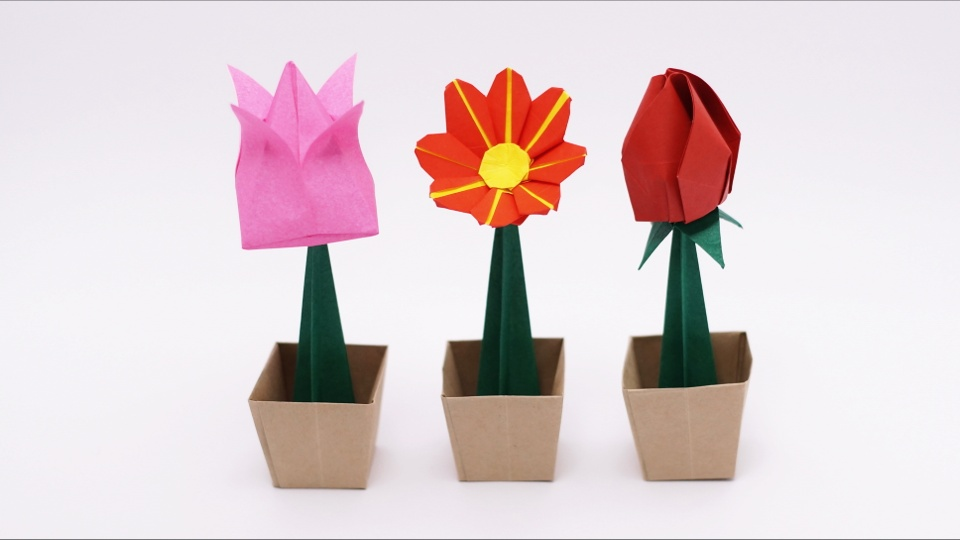 How to Make Origami Flowers - Origami Tulip Tutorial with Diagram ... | 540x960